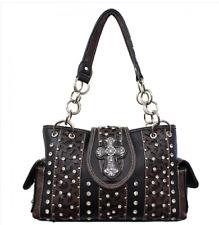 Concealed Carry Gun Handbag Case Rhinestone Cross Women Brown Black Purse