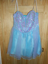 NEW Beautiful Strapless Blue Purple Tulle Sequined Short Fairytale Dress 14/15!