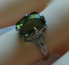 White gold14 k Art deco filigree ring with beautiful green tourmaline, size 6.25