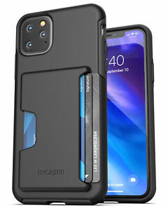 iPhone 11 / Pro Max Wallet Case Durable Cover with Credit Card Holder Slot Black