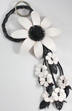 Cute White Black Flower Keychain Handbag Purse Genuine Leather Charm Handcraft