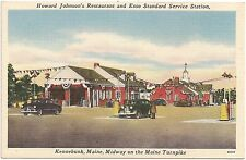 Howard Johnson's Restaurant and Esso Service Station in Kennebunk ME Postcard
