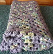 "Childs Throw Blanket 30"" Square Handcrafted Crochet Baby Cover Hand Made"