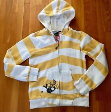 Boys Youth Size M VOLCOM Yellow White Stripe Hoodie Asymmetrical Funk Hot Ticket