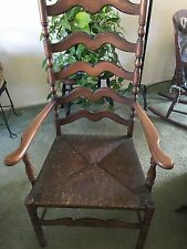 Vtg Antique Karpen Colonial Ladderback Chair With Arms & Rush Seat  Pickup Only