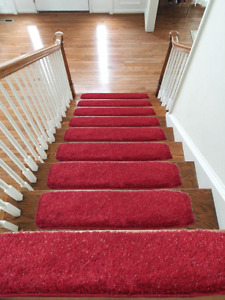 Shaggy Glittter Stair Treads NON-SLIP MACHINE WASHABLE Rug/Carpet, 22x67cm, RED