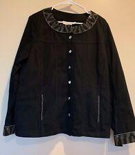 Quacker Factory Black Suede Beaded/Jeweled Womens Jacket SZ LG