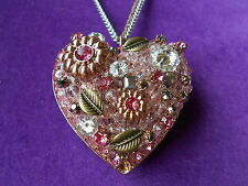 Betsey Johnson Authentic NWT Rose Gold-Tone Crystal Vintage Heart Necklace