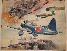 World War Two Japanese Zero Planes Bombing Pearl Harbor W/C Painting-Winarsky