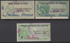 France Hunting Permit de Chasse 3 Revenues used 1954//1967 Yvert cv $90