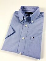 TOMMY HILFIGER Shirt Men's Short Sleeve End-On-End Blue Pin-Stripe Classic Fit