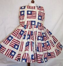 Dress to fit American Girl Doll - Patriotic Red White & Blue Flags - Made in USA