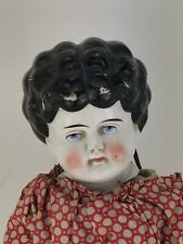 "Antique German China Head Doll 20"" - Cloth Body In Hand Stitched Red Dress 1800s"