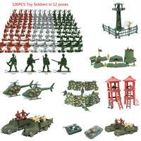 100X Military Soldaten Armee Männer Figuren 12Positionen Flugzeug Tank Spielzeug