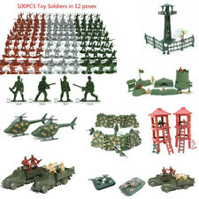 Hot Military Soldiers Army Men Figures 12 Poses aircraft tanks cannon kids Toy