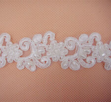 Ivory Pearl Beaded Embroidered Lace Trimming Bridal Wedding Floral Sewing Edging