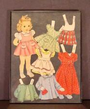 """VINTAGE 1940'S PAPER DOLL """"SANDRA"""" FRAMED WITH CLOTHES"""
