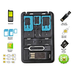 All in One Credit Card Size Slim SIM Adapter kit with TF card reader & SIM Card