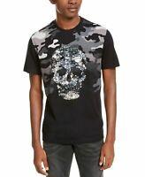 INC Mens T-Shirt Black Size Large L Sequin Skull Camo Graphic Tee $39 #012