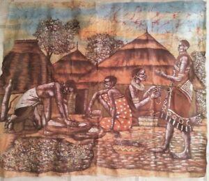 Vintage African Cloth picture - village scene