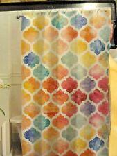 13 pc Colorful Fabric SHOWER CURTAIN Rainbow~Medallion Purple~Yellow~Blue~Orange