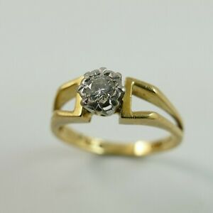 Old 18ct Gold 750 Diamond Solitaire 0.25 Carat Ring Size 'M 1/2' Marked 18CT