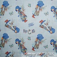 BonEful Fabric FQ Cotton Quilt Blue Holly Hobbie Doll Gingham Flower Butterfly S