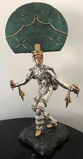 "Martin Mendoza Silver Copper 24K Gold Sculpture D'argenta Warrior Indian 21.5"""