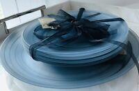 Akcam Turkish Handmade Blue Glass Translucent Black Swirl Plates