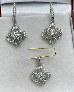 14k Solid White Good Hoop Flower Dangle Earrings Pendant Set. 5.77 Grams