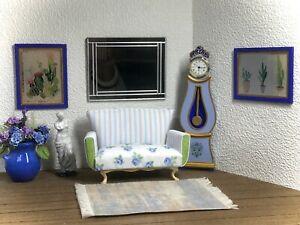 1:12 Dollhouse miniature sofa Blue Roses