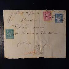 ENTIER + SAGE N°71/75 DEVANT DE LETTRE CHARGE COVER CAD LIERNAIS COTE D'OR 1886