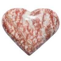 [1] Red Brecciated Jasper Crystal Puffy Heart Palm Stone +Selenite Heart Charger