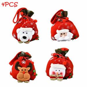 4pcs Christmas 3D Doll Candy Cute Gift Brushed Cloth Tote Drawstring Bag