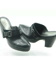 """COLE HAAN Black Leather & Suede Wedge Buckle Clogs Mules Womens 8.5 B """"BECCA"""""""