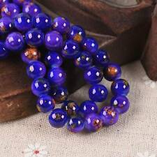 60pcs 8mm Purple & Blue Glossy Porcelain Imitated Coated Round Glass Loose Beads