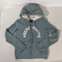 Abercrombie & Fitch Womens Medium Faux Sherpa Lined Full Zip Hoodie Jacket LN