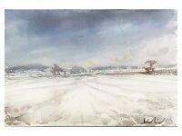 Original Aquarell Gemälde Malerei impressionistisch Winter Schnee Landschaft