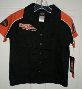 NWT Authentic Harley-Davidson MotorCycles black/orange short sleeve shirt, sz 3T