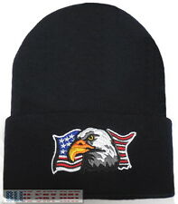 PATRIOTIC AMERICAN BALD EAGLE USA FLAG PRIDE KNIT BEANIE WINTER WATCH CAP HAT OS