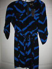 NWT faux wrap Yumi Kim Glam Black & Blue Geo Print short silk dress sz S small