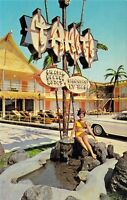 NJ Wildwood Crest - TAHITI Resort Motel UNIQUE SIGN Swimsuit Model postcard A70