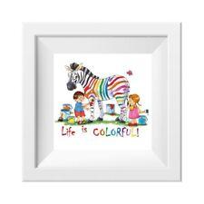 041 Kinderzimmer Bild Zebra bunt Poster Plakat quadratisch 30 x 30 cm (ohne Rahm