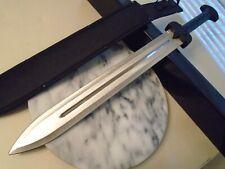 "Silver Gladius Gladiator Sword Combat Machete Knife Dual Edge 440 SW-1276 24"" OA"