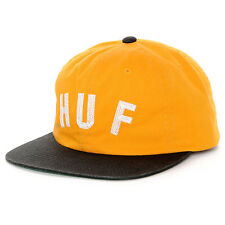 HUF Short Stop Unstructured Strapback Snapback Hat in Gold / Black