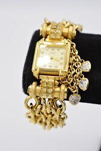 Kirks Folly Watch Bracelet Rhinestone Crystal Heart Bezel Multi-Chain Gold Bin4