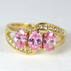 Women's Gold Filled Pink Crystal Ring Three Stone Ring