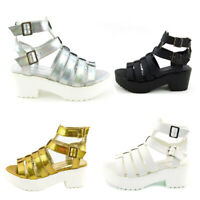 LADIES WOMENS GIRLS GLADIATOR CUT OUT SANDALS PLATFORM CHUNKY BLOCK HEELS SIZE