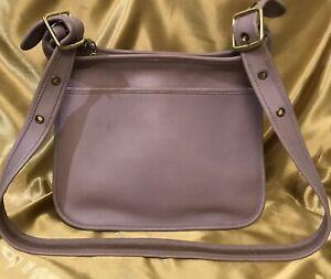 Beautiful Vintage Lavender Leather Shoulder Purse Crossbody Saddlebag Rare Color