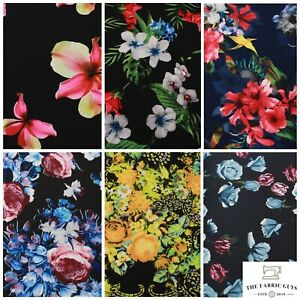 """Floral Tropical Rose Leaves Spring Scuba Jersey Stretch Fabric, High Quality 60"""""""